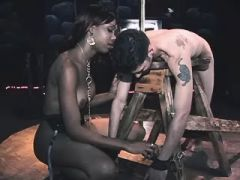 Slave guy fucked by small black shemale and jizzes
