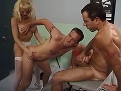 Two gays drill blonde shemale nurse