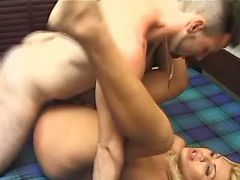 Gorgeous blonde tranny jump on dick