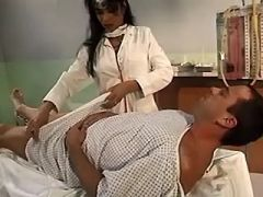 Man sucking brunette doctor shemale