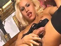 Lusty shemale and man jizz together