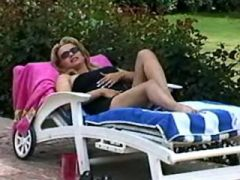 Horny shemale and guy relax outdoor
