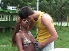 Hot ebony shemale seduces poor white guy outdoor