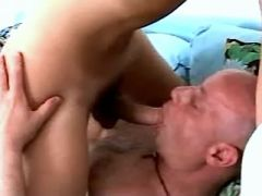 Hot young shemale and old man suck each other