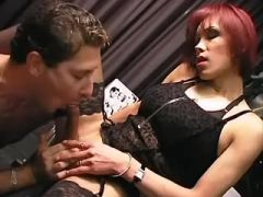 Office shemale in stockings cums and gets cumload