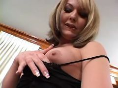 Yummy lonely shemale plays with her huge cock