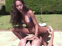 Numerous lustful shemales fuck cute girls in pool