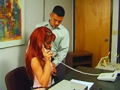 Redhead secretary shemale seduces amateur employee