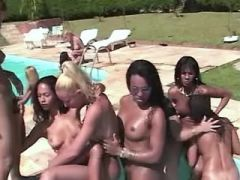 Horny girls suck cocks of ethnic shemales by pool