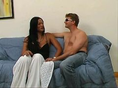 Lustful ethnic shemales seduce amateur man on sofa