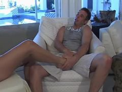 Beautiful tranny fucking with tattooed guy on sofa
