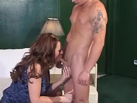 Playful beautiful shemale fucking with tattooed bloke