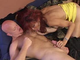 Beautiful redhead shemale fucking with lewd bald dude
