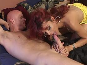Lewd bald dude fucking with beautiful redhead shemale